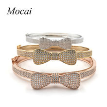 Fashion Sweet Cute Bowknot Bangle For Girls Brand New Luxury Full Cubic Zirconia Gold Color Shining Bangles & Bracelet ZK35