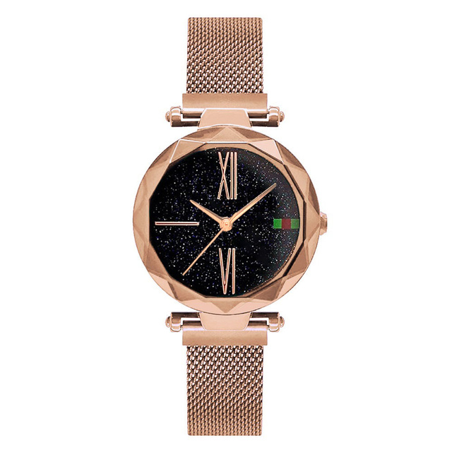 3aba414ec37 Luxury Rose Gold Women Watches Minimalism Starry sky Magnet Buckle ...