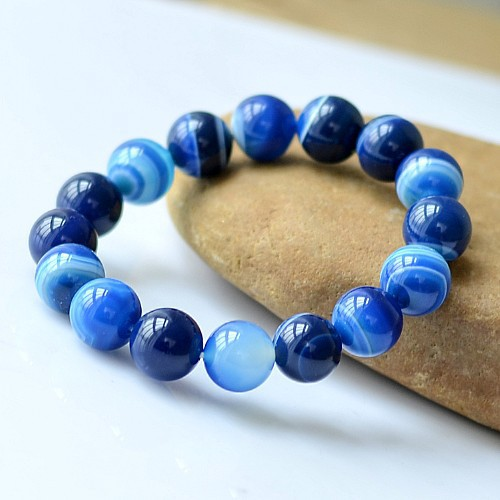 Blue carnelian Beads Bracelets Natural Stones Elastic Line Bracelet Men Jewelry Women Bracelet Fashion Wristband ...