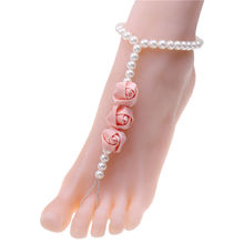 Summer Beach pearl Anklets Multi Tassel Anklet Rose ribbon flower statement Bracelet Chain On Foot Women