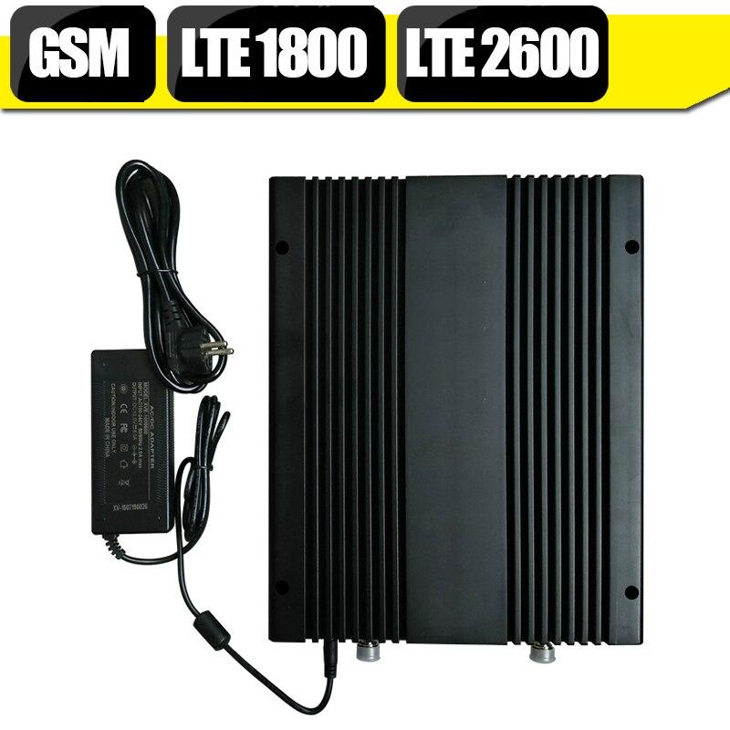 GSM 900 mhz 4G LTE 1800 mhz B3 LTE 2600 mhz B7 amplificateur de Signal cellulaire à trois bandes GSM 1800 mhz répéteur grand amplificateur de puissance