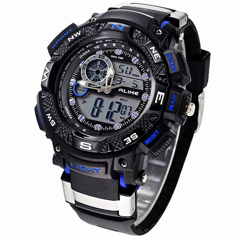 ALIKE Relogio Masculino Waterproof Outdoor Sports G Style Shock Watches Men Quartz Hours Digital Watch Military LED Wrist Watch alike ak1391 sports 50m water resistant quartz digital wrist watch black orange