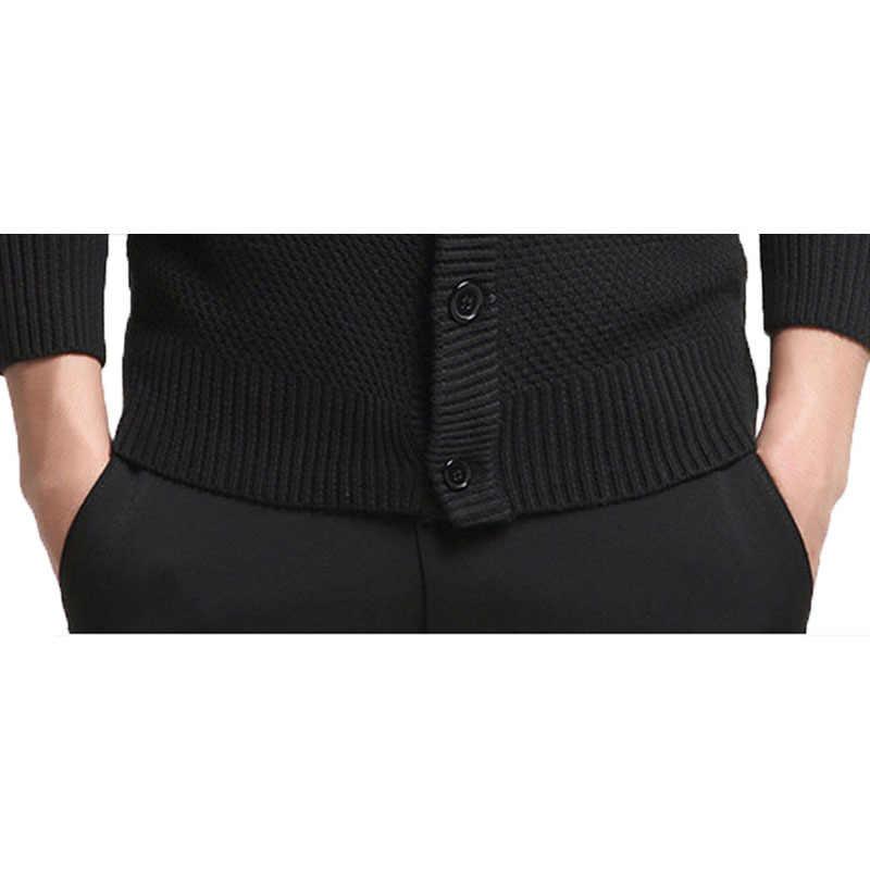 Suéter de algodón Varsanol cárdigan de manga larga para hombre suéteres de cuello redondo suelto botón Fit tejido Casual Estilo negro Color Tops