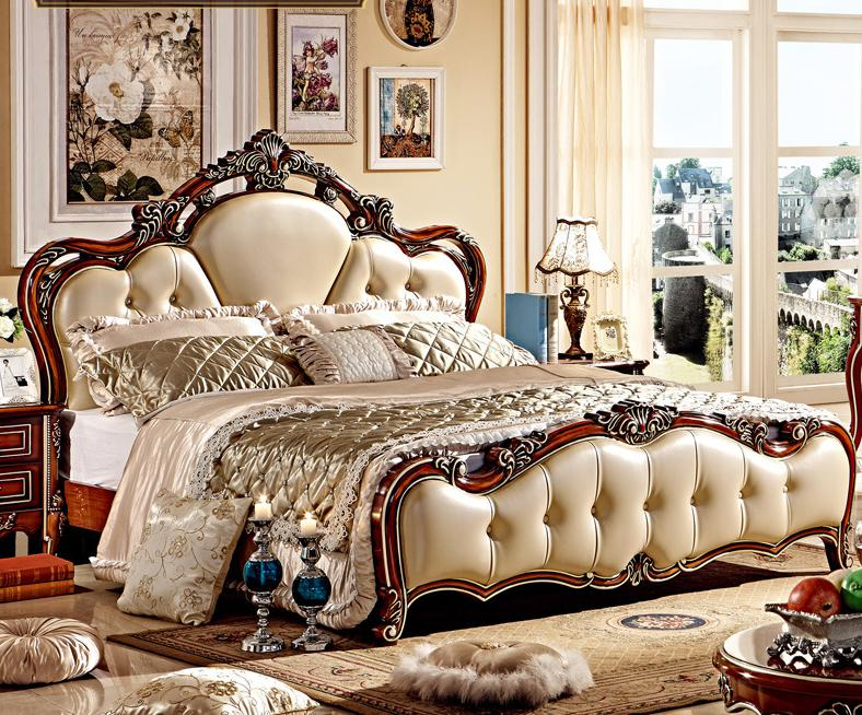 European Style High Quality 5 Pcs Bedroom Set With Carving From Foshan  Furniture