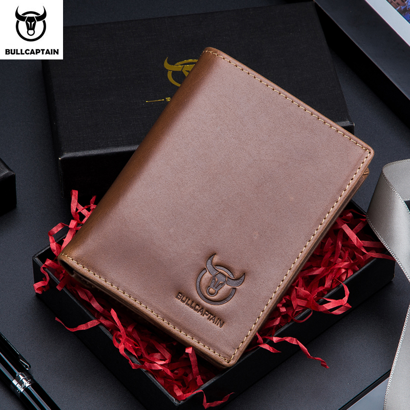 BULLCAPTAIN New Korean Casual Men's Wallet Short Vertical Locomotive British Leisure Multi-function Card Package Leather Wallet