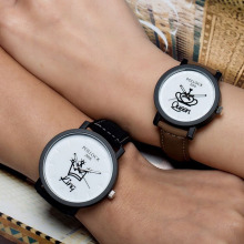 New Relogio Couples Watch King & Queen Leather Quartz