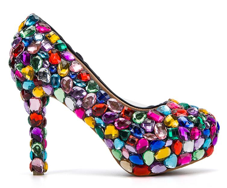 Princess candy colorful wedding shoes 4'' crystal high heels,bridal rhinestone dress party shoes wedding pumps Nightclub Shoes women shoes wedding dress bridal shoes big red crystal high heels rhinestone heels golden striate collaterals glittering party