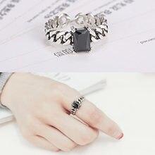 Preto branco cristal thai sliver aberto anel ajustável para as mulheres quare zircon dedo anel de mão acessórios para menina presente feminino