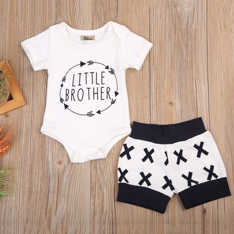 Newborn Kids Baby Boys Infant Cotton Letter Short Sleeve Tops Bodysuit Shorts Pants Set 2Pcs Summer Clothes Outfits Sunsuit 0-2Y