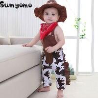 Bambino Cowboy Pagliaccetto Costume Infantile Ragazzo Ragazza Insieme Dei Vestiti 3 pz Hat + Bavaglini + Tuta Del Pagliaccetto di Halloween Event Birthday Outfits