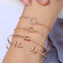 HOCOLE Fashion Gold Metal Bracelets For Women Bohemian Multi-layer Leaf Knot Link Chain Bracelet Set Open Bangles Female Jewelry