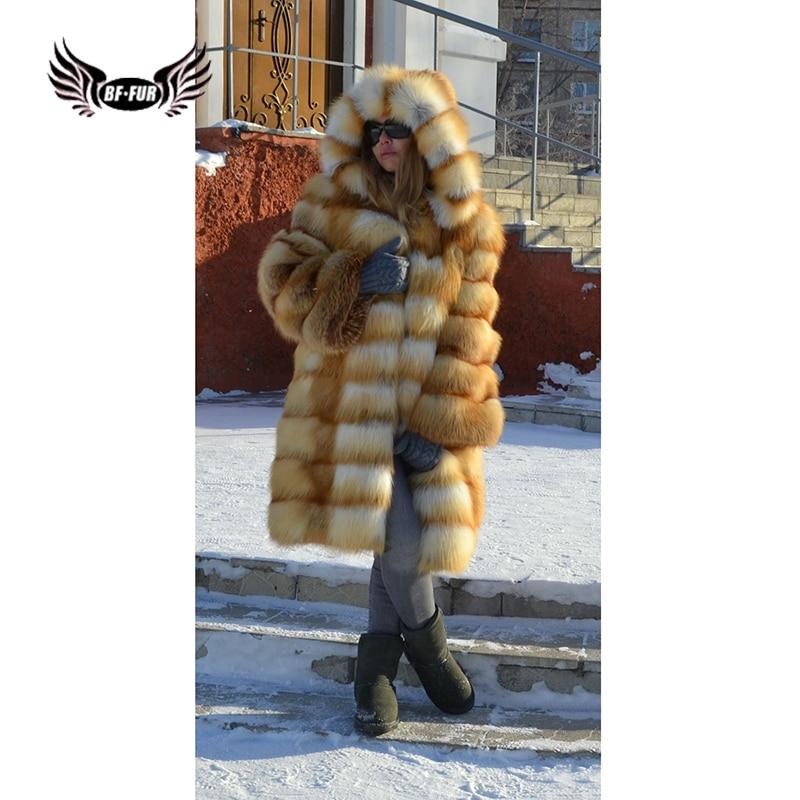 BFFUR роскошные женские шубы из натурального Лисьего меха 90 см с меховым капюшоном, съемные куртки из натурального меха Золотой лисы
