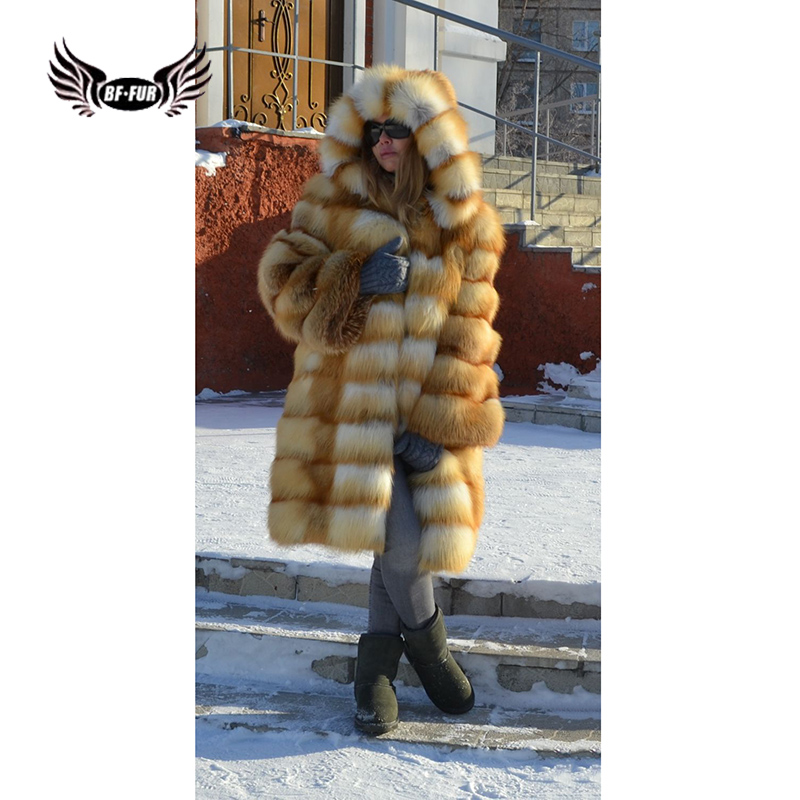 BFFUR Luxurious Women's Real Fox Fur Coats Is 90 Cm With Fur Hood Detachable Genuine Natural Gold Fox Fur Jackets Whole Skin Top