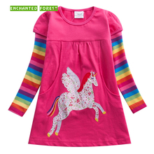 Girls dress 2019 spring new unicorn embroidered girl long-sleeved tutu newborn clothes baby party girls dresses