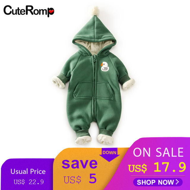 e4c28f89cf20 Winter Warm Fleece Baby Rompers 3D bear Hooded Newborn Clothes Baby ...