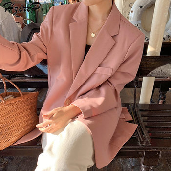 HziriP новые весенние осенние модные повседневные однобортные однотонные блейзеры с карманами элегантные офисные свежие пиджаки розовый бле...