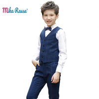 3pcs kids Boys clothes sets flower boy formal wedding clothing outfit student uniform handsome costume plaid vest+trousers+shirt