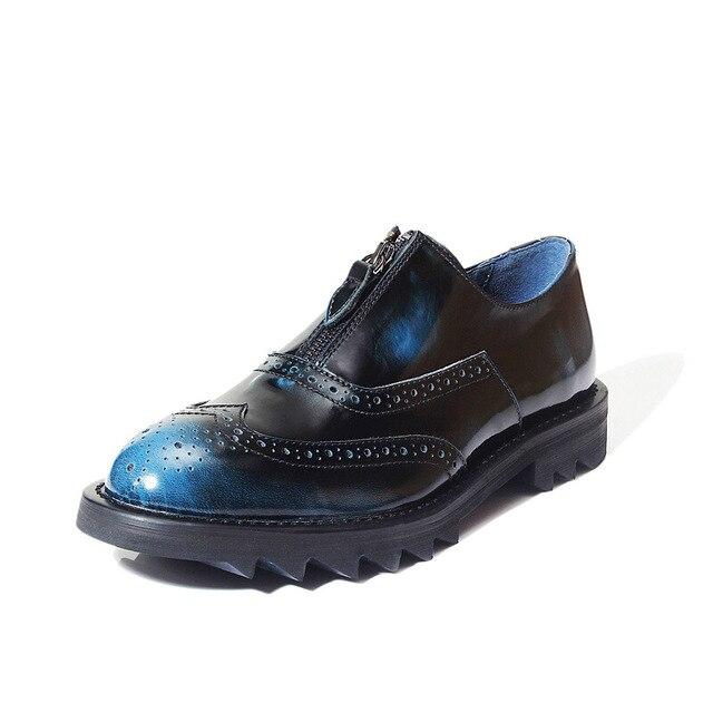 Homme De Bout D/'Aile Richelieu à Lacets Bout Rond Côté Fermeture Éclair Oxford Motor militaire Chaussures