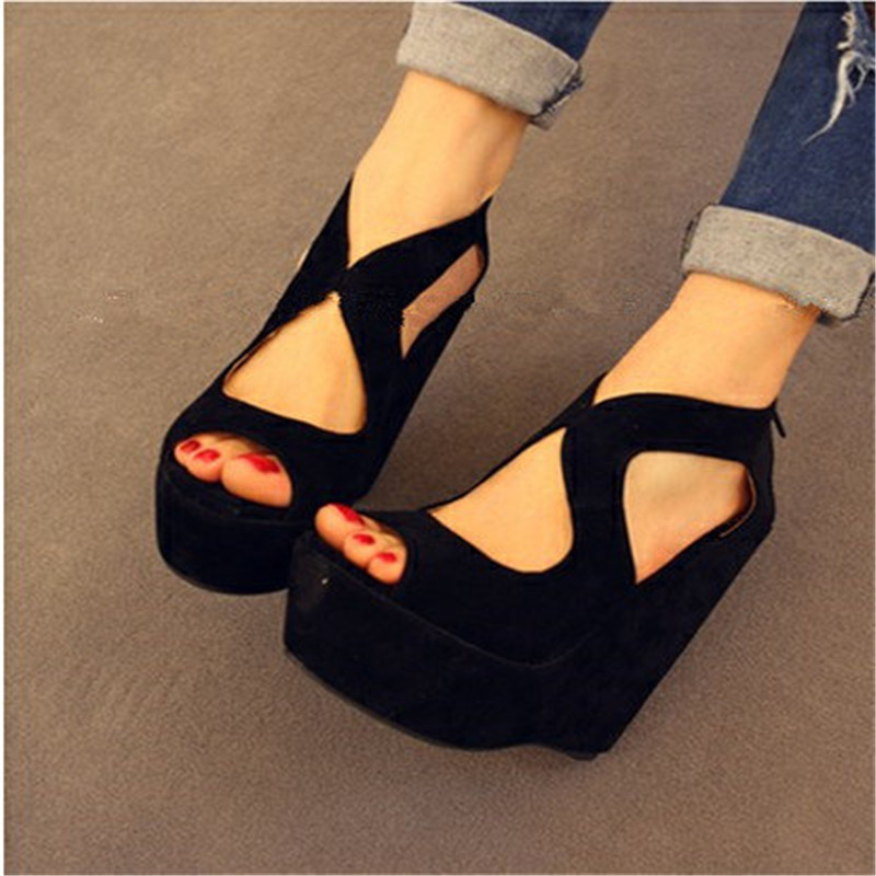 2016 summer platform high-heeled shoes sandals female classic lacing open toe wedges women's