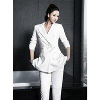 New Black White Pant Suits Women Casual Office Uniform Styles Ladies Elegant Pant Suits Business Suits