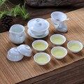 Новый керамический чайный набор кунг-фу включает в себя 1 гайвань + 1 стаканчик + 7 чайных чашек  чистый белый китайский чайный сервиз чайная ц...