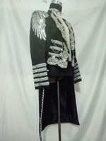 Настоящая роскошь черные мужские серебряной вышивкой СМОКИНГ Махаон маг куртка/вечерние/для выступления/Ангелы крыло/может таможенные раз