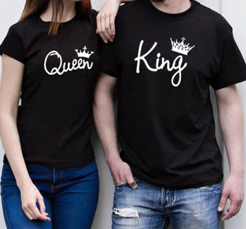 Rey reina letra corona impresión T Shirt pareja manga corta cuello redondo Camiseta suelta 2019 verano mujeres Camisetas Mujer