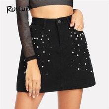 5361272db0a ROMWE искусственная жемчужная джинсовая повседневная юбка 2018 Новая мода  Черный бисером сдвиг короткая женская юбка средней тал.