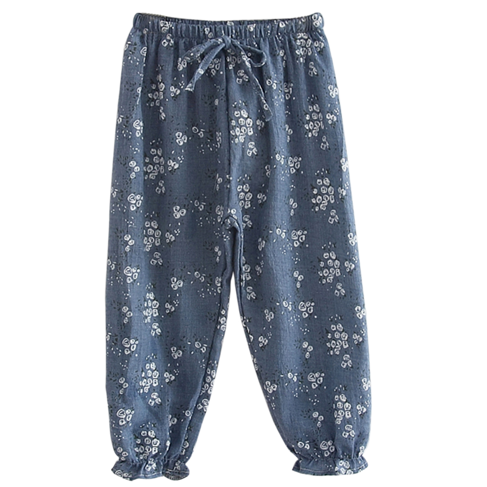 Kids Children Girls Cotton and Linen Pants Trousers Flower Print ...