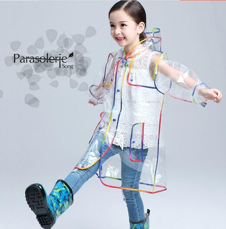 Children Raincoat EVA Transparent Clear Rainwear Hooded Outdoor Touring Rain Coat