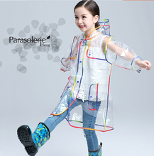 Children Raincoat EVA Transparent Clear Rainwear Hooded Outdoor Touring Rain Coat