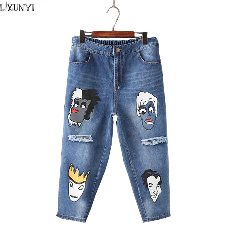 ФОТО Ripped jeans For Women Plus Size High Waist Straight Pants New 2017 Hole Washing Cartoon Printed jeans Femme Ankle Length 5XL