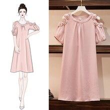 Летние женские платья размера плюс 5XL с открытыми плечами, женские платья с О-образным вырезом, розовые платья с коротким рукавом