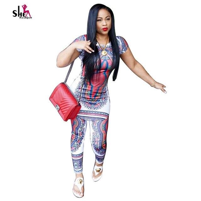 Африки Одежда 2016 лето dashiki сексуальные Женщины Устанавливает топ + брюки с коротким рукавом Африканские платья для женщин плюс размер африканских одежда
