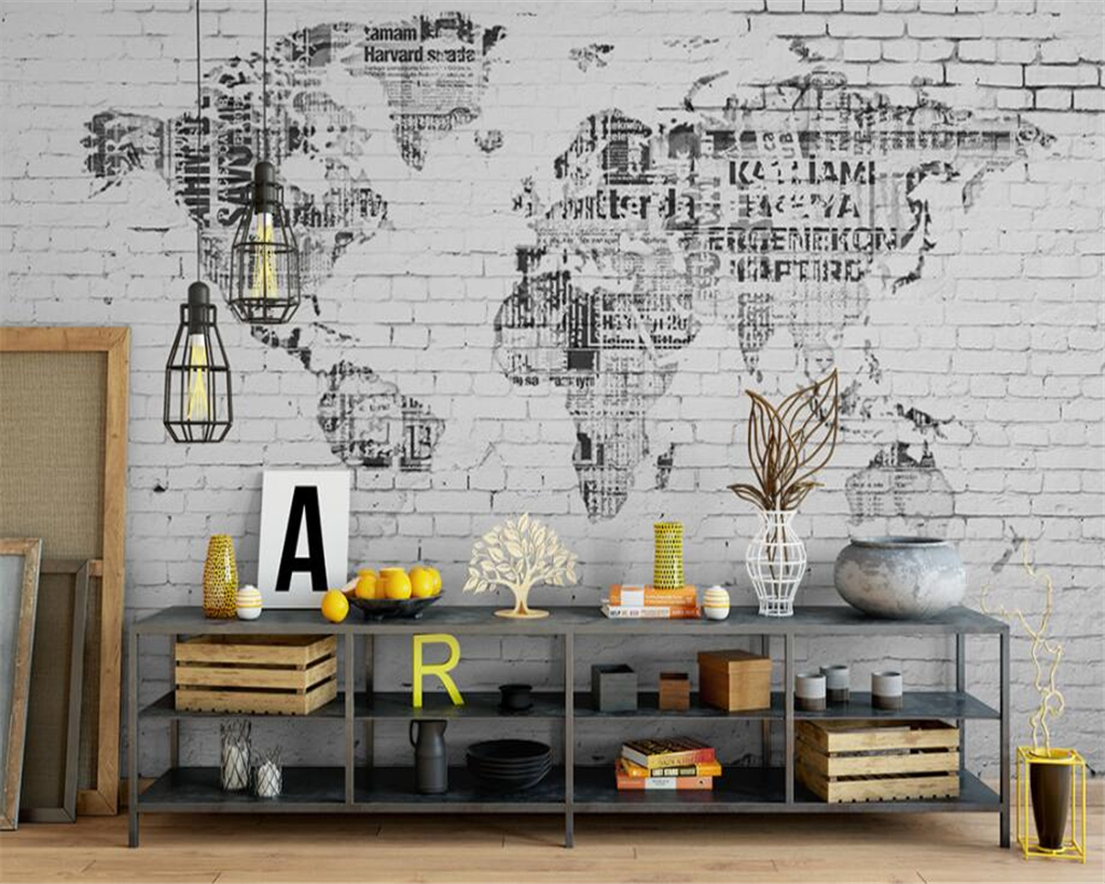 Beibehang Wall Mural Wallpaper Retro World Map Brick