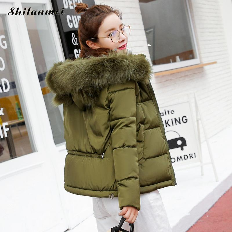 Large Fur Winter Jacket Women Coat Warm no Detachable Raccoon Fur Collar Hooded Army Green Brand women Parka Outwear kohuijoos 3xl winter women army green large raccoon fur collar hooded coat warm detachable natural fox fur lining parka coats
