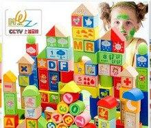 big size wooden baby learning blocks 100pcs  alphapet letter blocks wooden educational toys for child