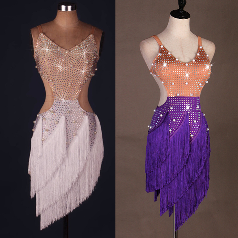 2019 Stage Women Lady Latin Dance Dresses More Color -9964