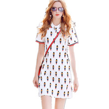 Vestidos Femininos 2017 Summer Polo Casual Bears Print Turn-Down Collar Cotton T-Shirt Women Dresses Size S-L Hot Sale D77588A