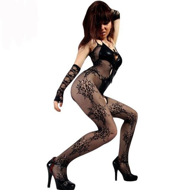 Moda 2017 Nuevas Mujeres Atractivas Medias Sexy Negro dormitorio Floral Noche Encanto Abertura entre las piernas de Malla mallas Body Medias LC79723