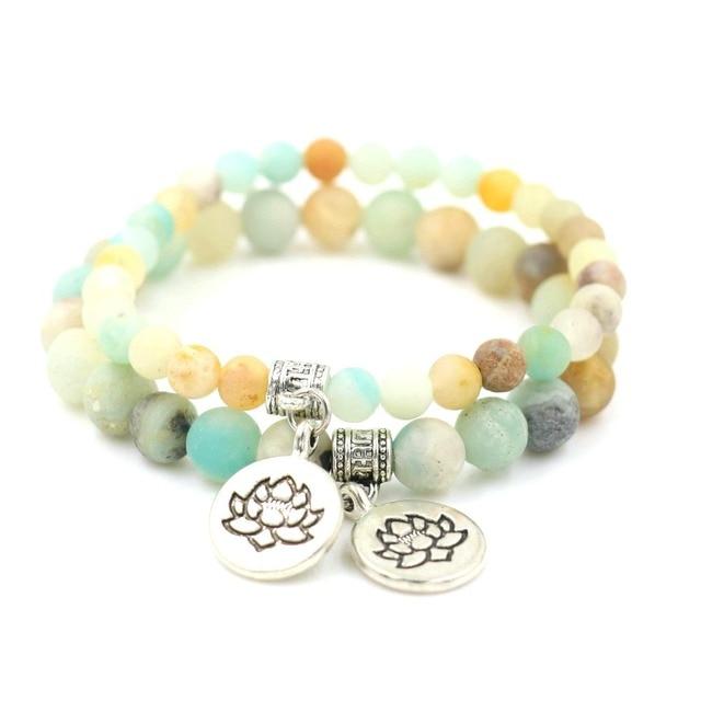 Matte Amazonite Lotus Bracelet
