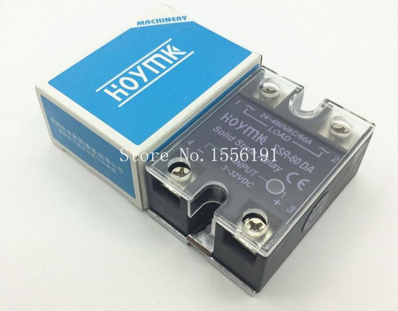 HOYMK SSR-60DA 60A Single phase dc solid state relay control communication relay solid state Resistance Regulator normally open single phase solid state relay ssr mgr 1 d48120 120a control dc ac 24 480v