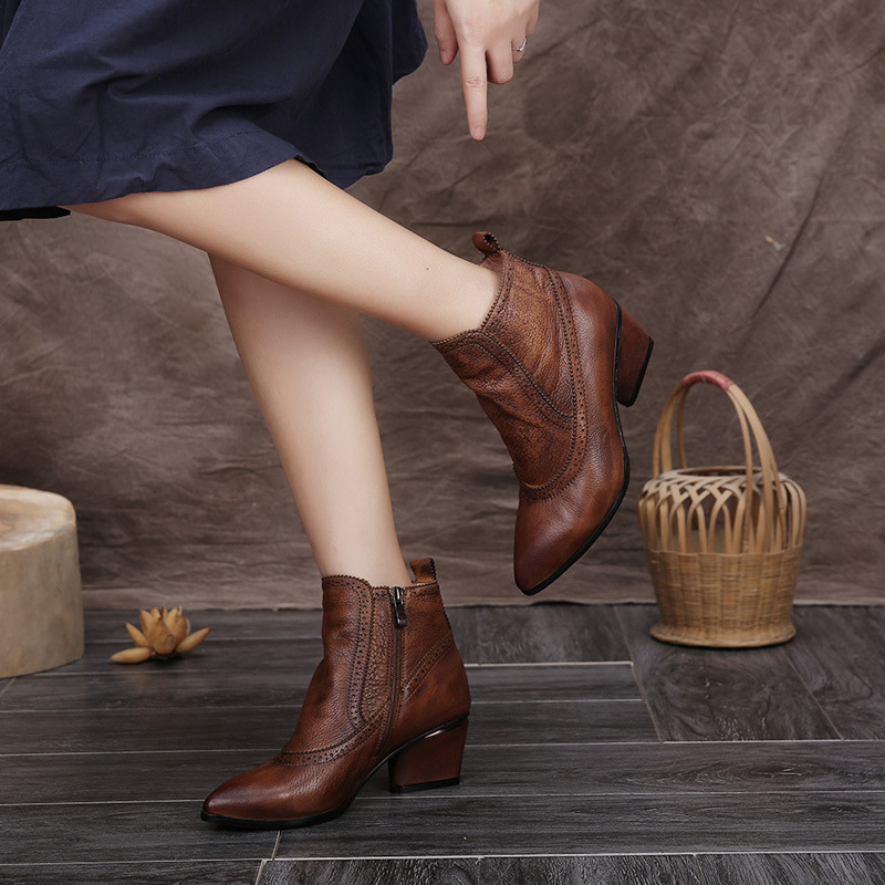 HOT SALE Shoes Women Retro Boots Handmade Ankle Boots High Heels Wedage Boots Genuine Leather Shoes Women Shoes Plus Size 42