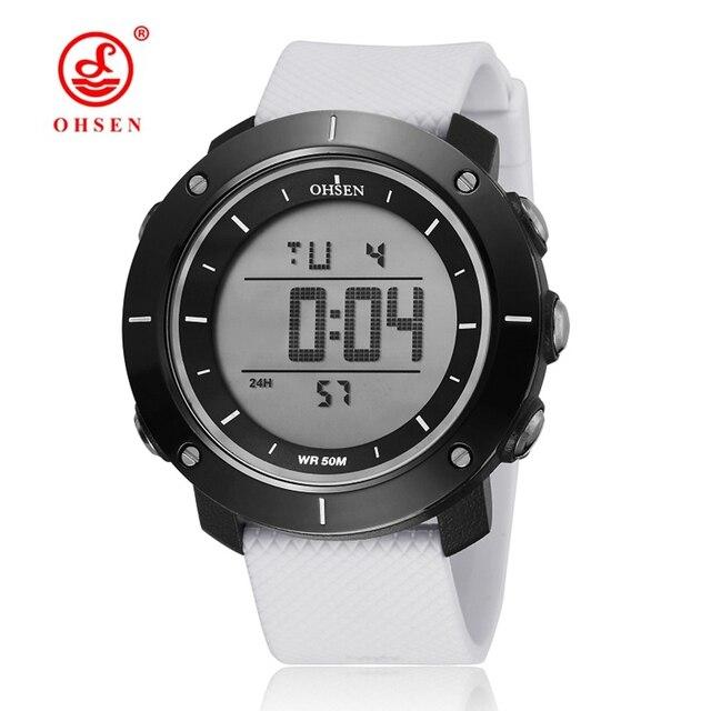 OHSEN de moda blanco Digital electrónica deporte reloj de pulsera para  hombres hombre correa de silicona a4f3135da442