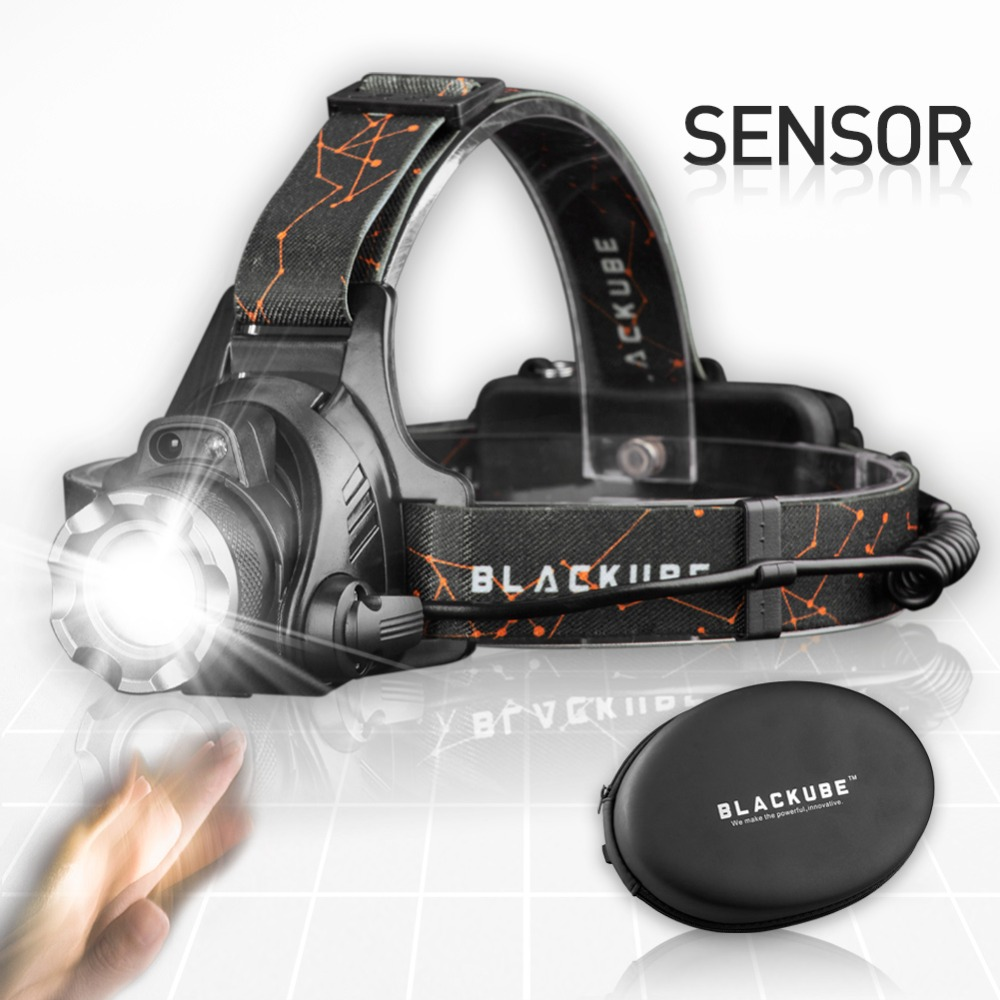 Blackube Headlamp Super Bright Motion Sensor Zoomable CREE T6 Waterproof Headlight With Rechargeable Battery