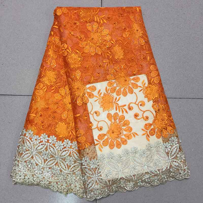 African Swiss Voile Lace Fabric 2019 New Orange Color Embroidered Nigerian Lace Fabric High Quality French
