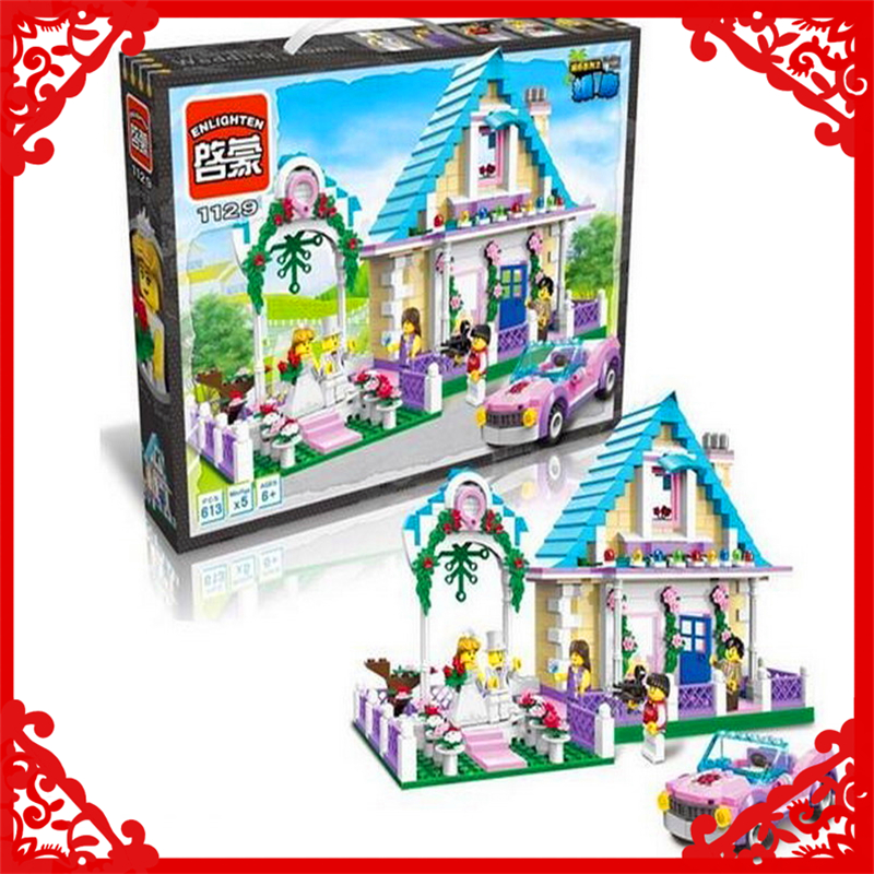 City Series Marriage Wedding Room Model Building Block Toys Compatible Legoe ENLIGHTEN 1129 613Pcs DIY Gifts For Children loz mini diamond block world famous architecture financial center swfc shangha china city nanoblock model brick educational toys