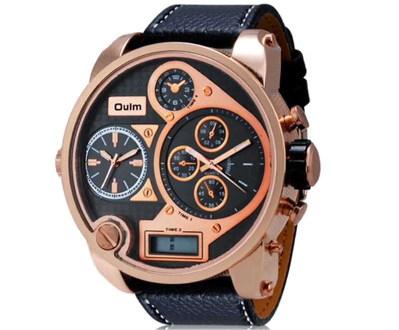 2017 Oulm 9316B Men's 3-Movement Analog Wrist Watch with Faux Leather Band