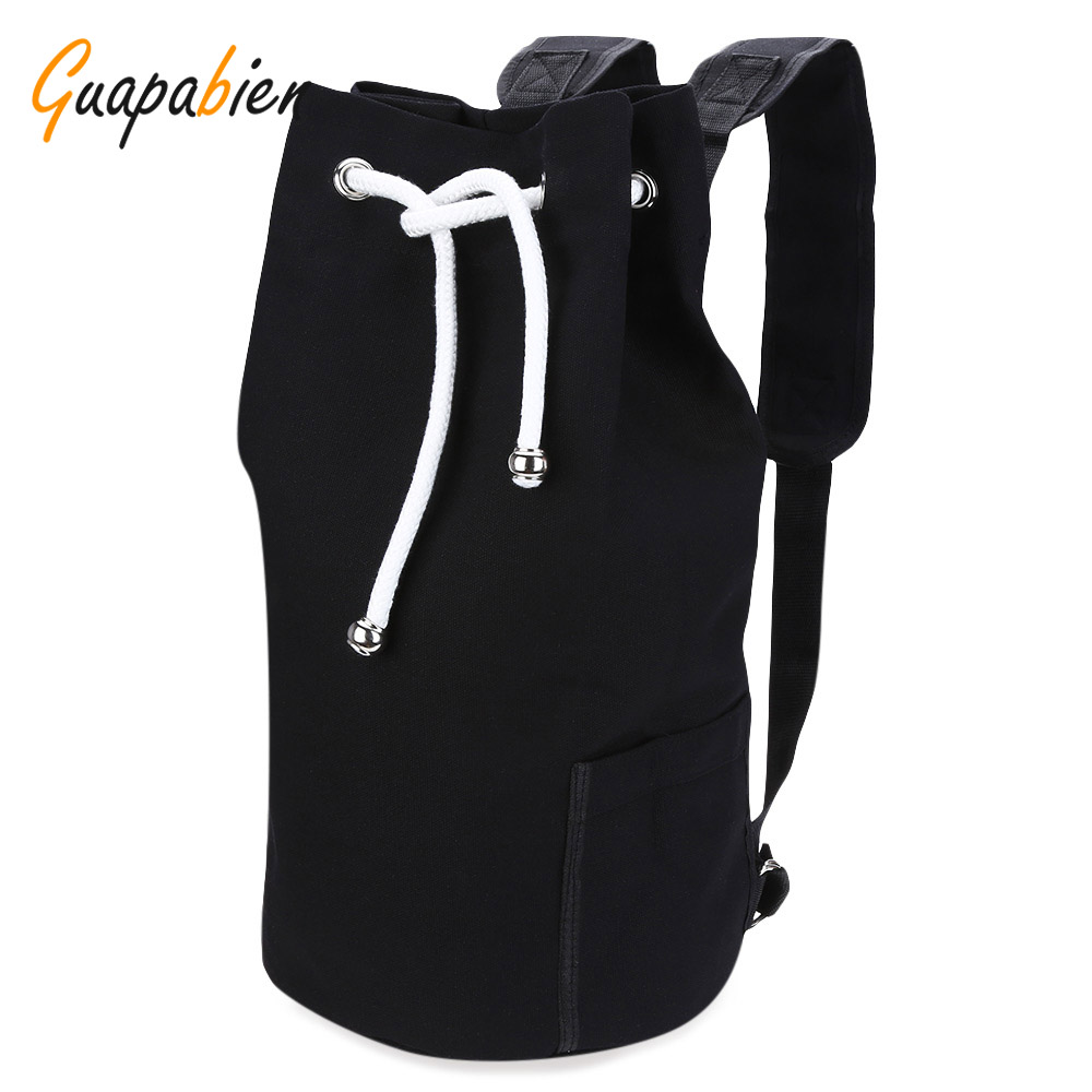 Guapabien Drawstring Canvas Bucket Solid Bag Portable Backpack For Men 2017 New Fashion Backpack High Quality Bag Two Color Male aosbos fashion portable insulated canvas lunch bag thermal food picnic lunch bags for women kids men cooler lunch box bag tote