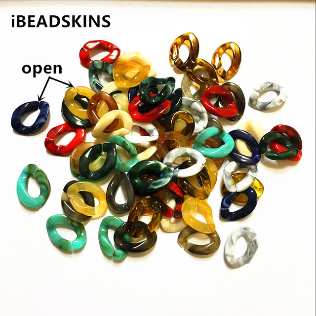 New arrival! 22x16mm Acrylic marble effect opening oval shape chain beads for jewelry making(Design as shown)#1088